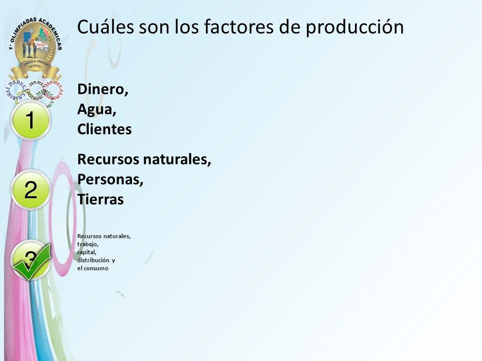 Cuáles son los factores de producción Dinero, Agua, Clientes Recursos naturales, Personas, Tierras Recursos naturales, trabajo, capital, distribución