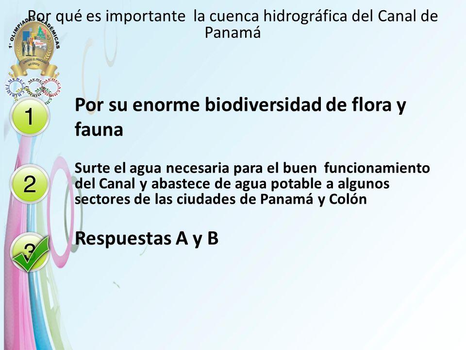 Por qué es importante la cuenca hidrográfica del Canal de Panamá Por su enorme biodiversidad de flora y fauna Surte el agua necesaria para el buen fun