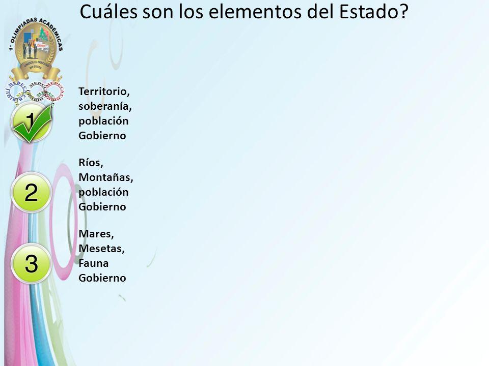 Cuáles son los elementos del Estado? Territorio, soberanía, población Gobierno Ríos, Montañas, población Gobierno Mares, Mesetas, Fauna Gobierno