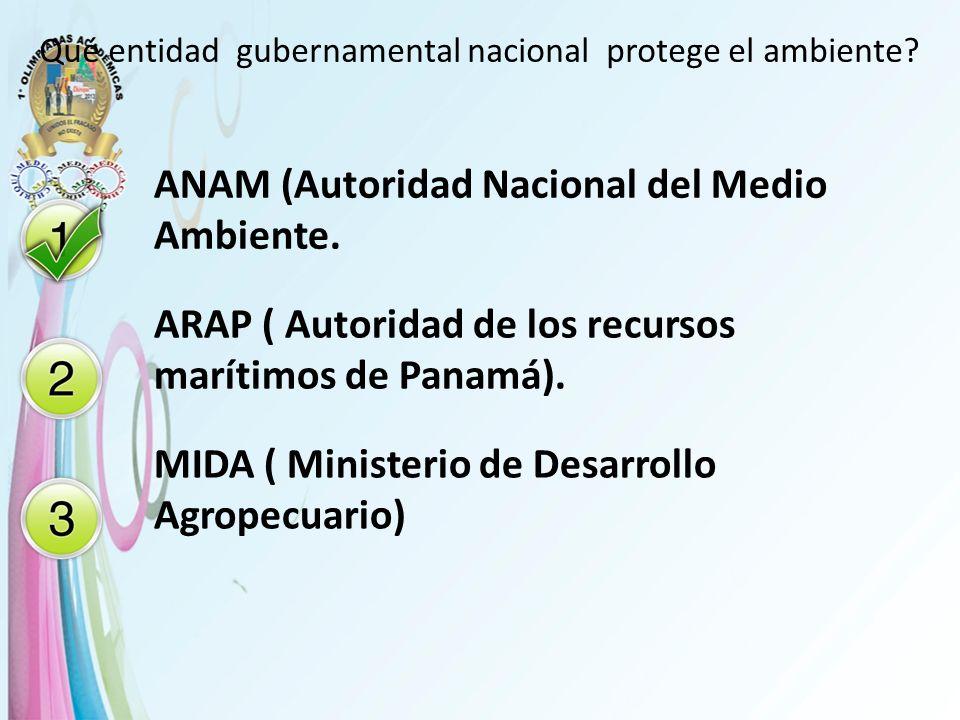 Qué entidad gubernamental nacional protege el ambiente? ANAM (Autoridad Nacional del Medio Ambiente. ARAP ( Autoridad de los recursos marítimos de Pan