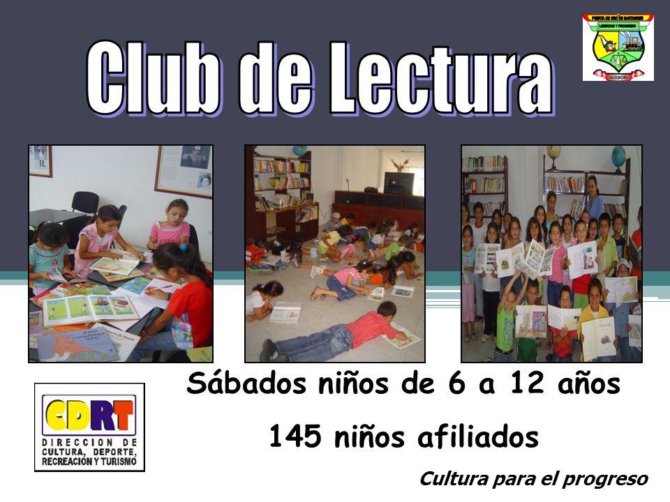Sábados niños de 6 a 12 años 145 niños afiliados Cultura para el progreso