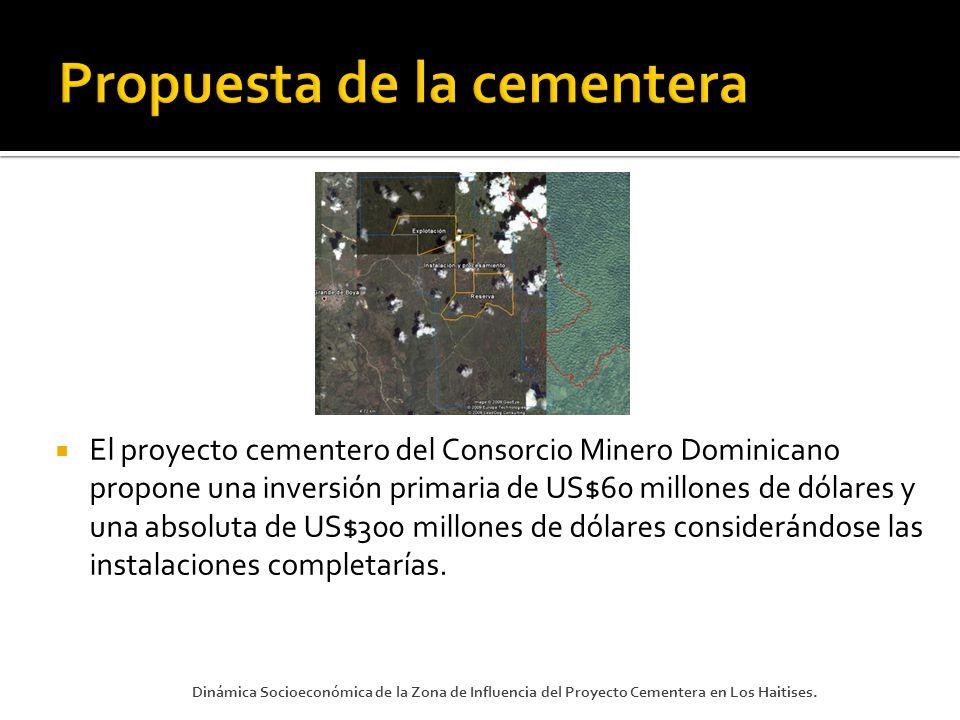 El proyecto cementero del Consorcio Minero Dominicano propone una inversión primaria de US$60 millones de dólares y una absoluta de US$300 millones de