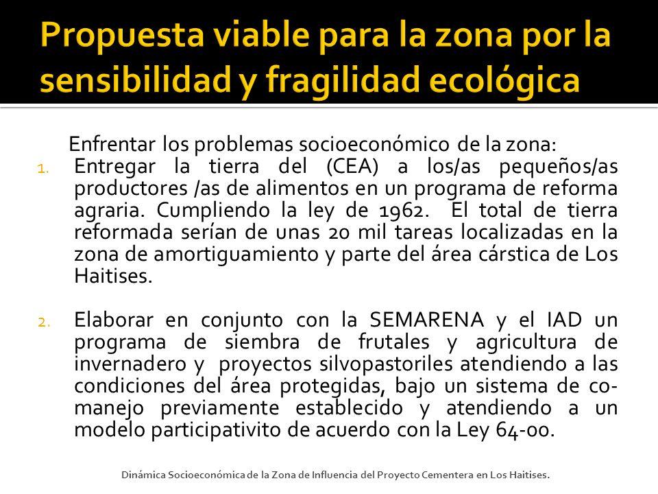 Enfrentar los problemas socioeconómico de la zona: 1. Entregar la tierra del (CEA) a los/as pequeños/as productores /as de alimentos en un programa de