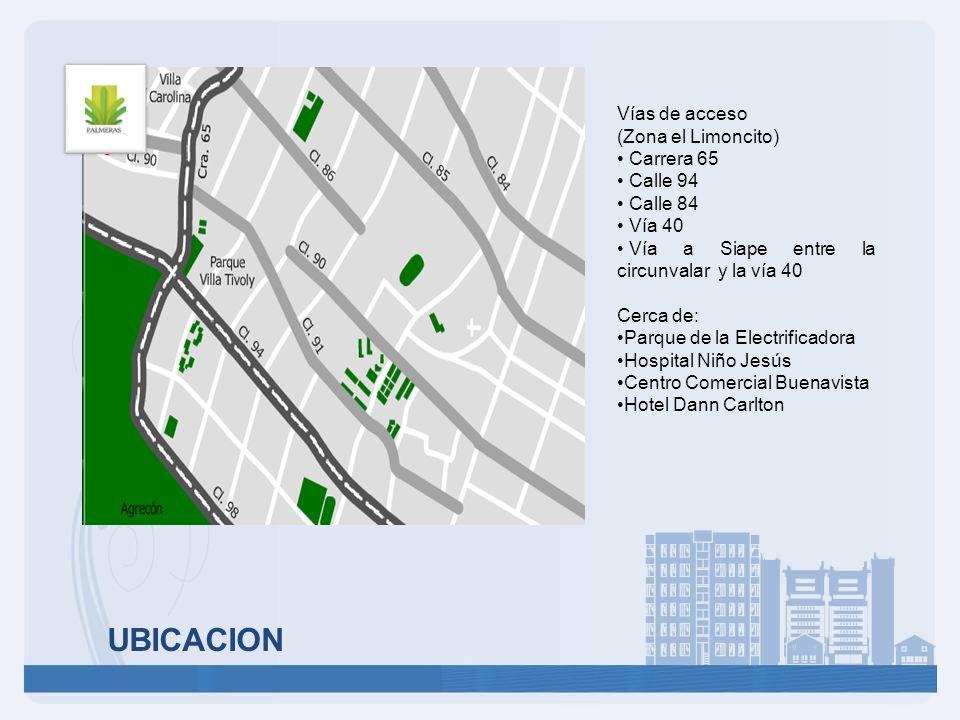 UBICACION Vías de acceso (Zona el Limoncito) Carrera 65 Calle 94 Calle 84 Vía 40 Vía a Siape entre la circunvalar y la vía 40 Cerca de: Parque de la E