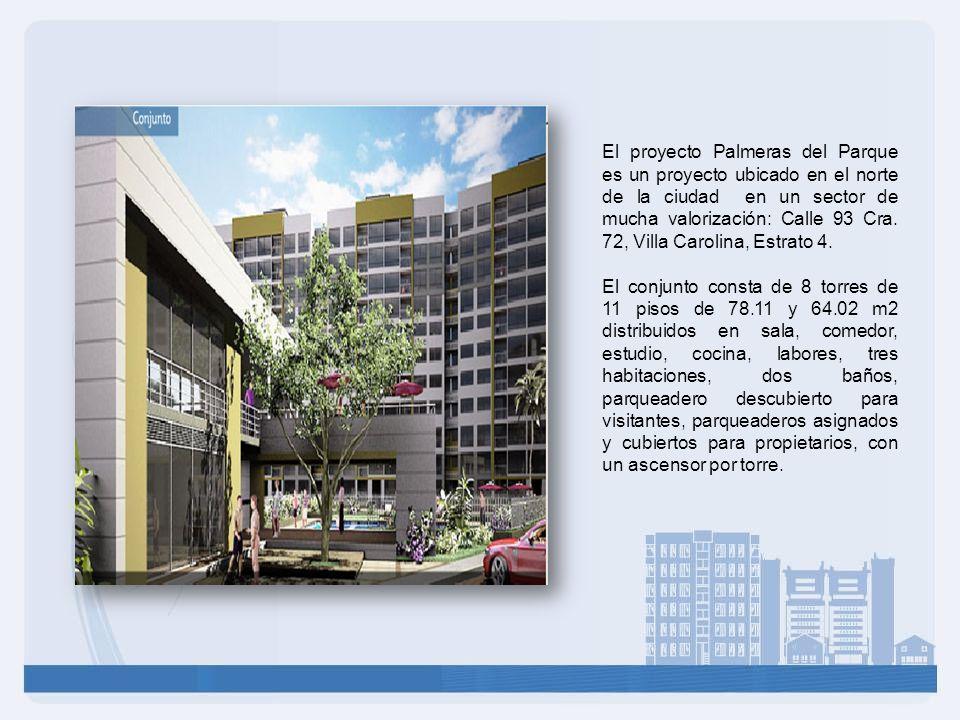 El proyecto Palmeras del Parque es un proyecto ubicado en el norte de la ciudad en un sector de mucha valorización: Calle 93 Cra. 72, Villa Carolina,