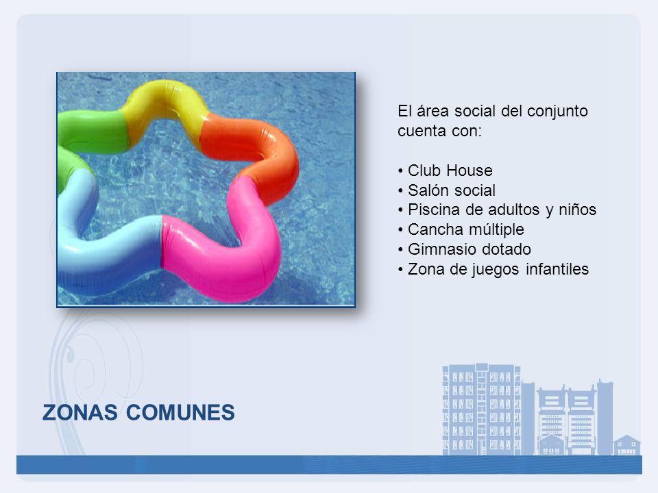 ZONAS COMUNES El área social del conjunto cuenta con: Club House Salón social Piscina de adultos y niños Cancha múltiple Gimnasio dotado Zona de juego