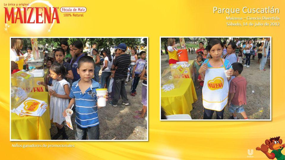 Niños ganadores de promocionales Parque Cuscatlán Parque Cuscatlán Maizena – Ciencia Divertida Sábado, 14 de julio de 2012