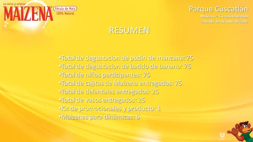 Fecha: Miércoles, 18 de julio de 2012 Hora: 09:30 am a 11:30 am Centro Escolar Eduviges Polideportivo Don Bosco Maizena – Ciencia Divertida Maizena – Ciencia Divertida