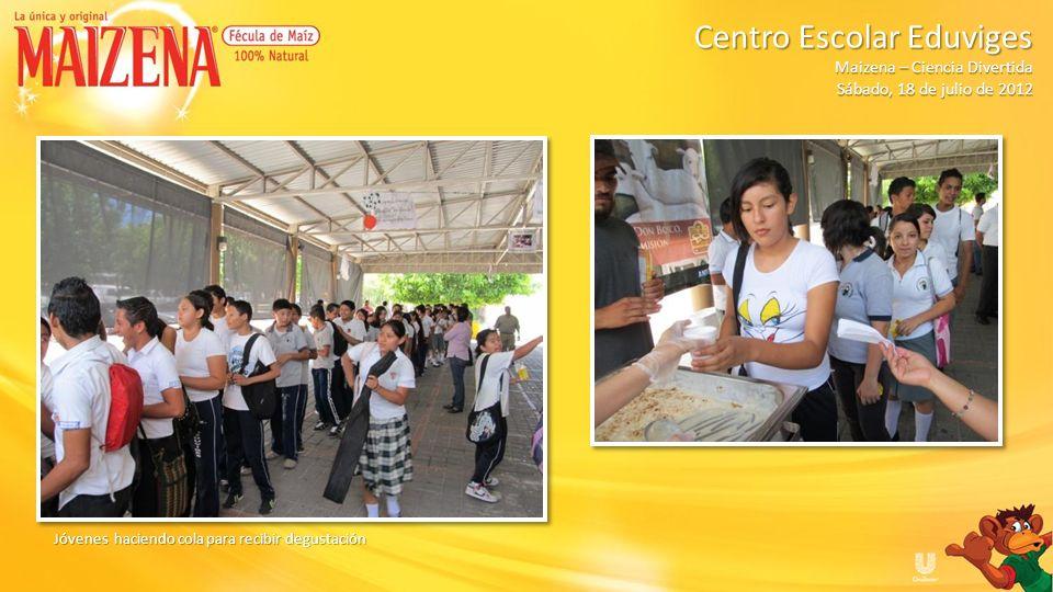 Centro Escolar Eduviges Maizena – Ciencia Divertida Sábado, 18 de julio de 2012 RESUMEN Total de degustacion de pudin de manzana: 75 Total de degustacion de pudin de manzana: 75 Total de degustacion de batido de banano: 75 Total de degustacion de batido de banano: 75 Total de niños participantes: 140 Total de niños participantes: 140 Total de cajitas de Maizena entregados: 140 Total de cajitas de Maizena entregados: 140 Total de delantales entregados: 12 Total de delantales entregados: 12 Total de vasos entregados: 13 Total de vasos entregados: 13 Kit de promocionales y producto: 1 Kit de promocionales y producto: 1 Maizenas para dinámicas: 5 Maizenas para dinámicas: 5