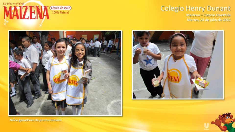 Niños recibiendo degustación de pudin de manzana Colegio Henry Dunant Colegio Henry Dunant Maizena – Ciencia Divertida Martes, 24 de julio de 2012