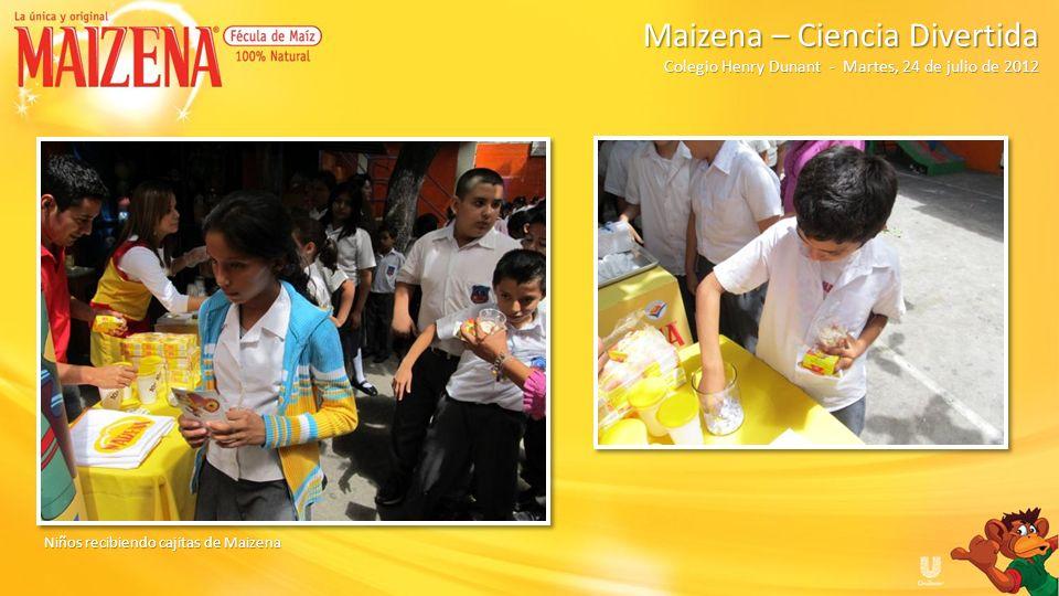 Niños recibiendo cajitas de Maizena Maizena – Ciencia Divertida Colegio Henry Dunant - Martes, 24 de julio de 2012 Maizena – Ciencia Divertida Colegio