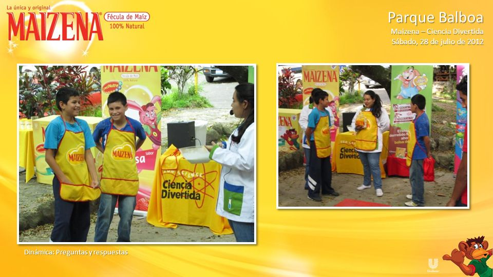 Ganador de dinámica Niños recibiendo degustación Parque Balboa Parque Balboa Maizena – Ciencia Divertida Sábado, 28 de julio de 2012