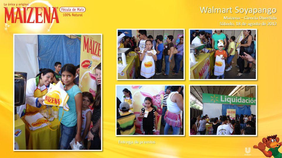 Entrega de premios Walmart Soyapango Walmart Soyapango Maizena – Ciencia Divertida Sábado, 18 de agosto de 2012