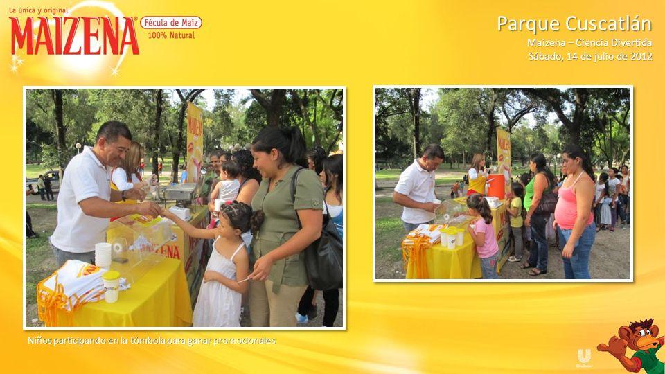 Niños participando en la tómbola para ganar promocionales Parque Cuscatlán Parque Cuscatlán Maizena – Ciencia Divertida Sábado, 14 de julio de 2012