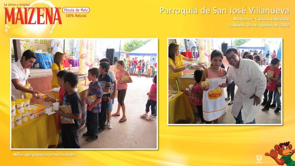Niños recibiendo degustacion pudin de manzana Parroquia de San José Villanueva Parroquia de San José Villanueva Maizena – Ciencia Divertida Sábado, 19 de agosto de 2012