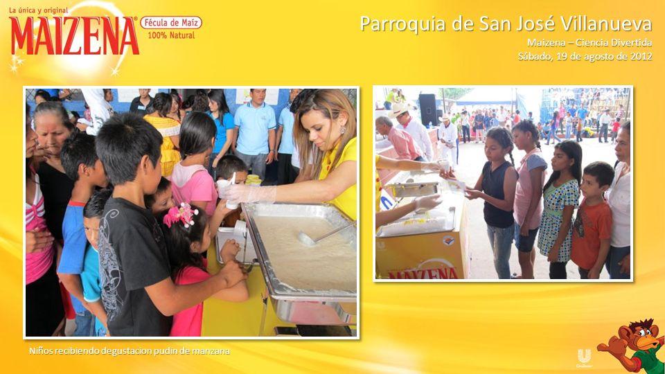 Niños recibiendo degustacion pudin de manzana Parroquia de San José Villanueva Parroquia de San José Villanueva Maizena – Ciencia Divertida Sábado, 19
