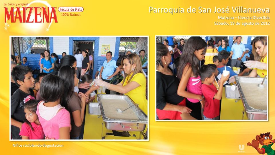 Niños recibiendo cajitas de Maizena Parroquia de San José Villanueva Parroquia de San José Villanueva Maizena – Ciencia Divertida Sábado, 19 de agosto de 2012