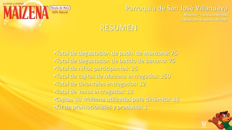 RESUMEN Total de degustacion de pudin de manzana: 75 Total de degustacion de pudin de manzana: 75 Total de degustacion de batido de banano: 75 Total d