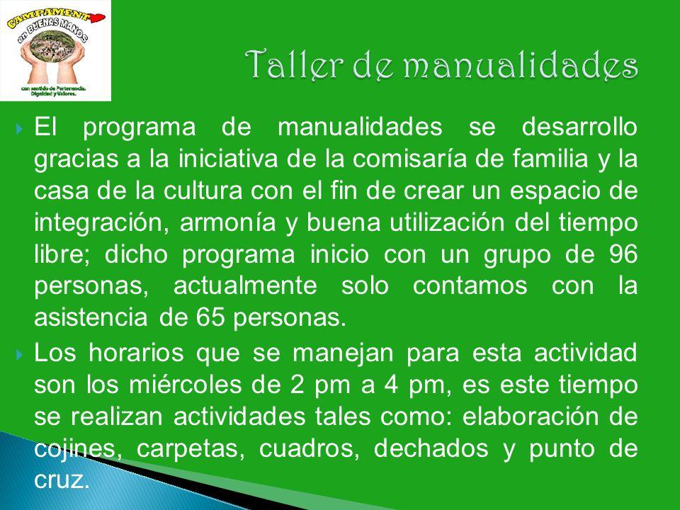 El programa de manualidades se desarrollo gracias a la iniciativa de la comisaría de familia y la casa de la cultura con el fin de crear un espacio de