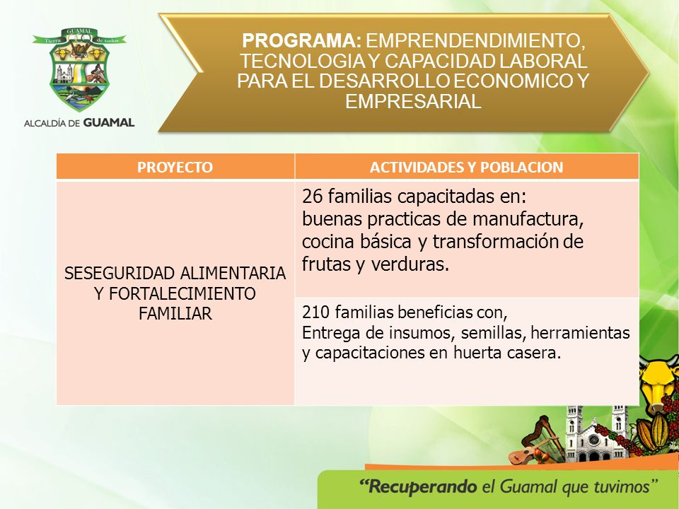 PROGRAMA: SERVICIOS PUBLICOS CON CALIDAD RECOLECCIÓN, TRANSPORTE, DISPOSICIÓN Y TRATAMIENTO FINAL MUNICIPIO DE GUAMAL Y CENTRO POBLADO DE HUMADEA.