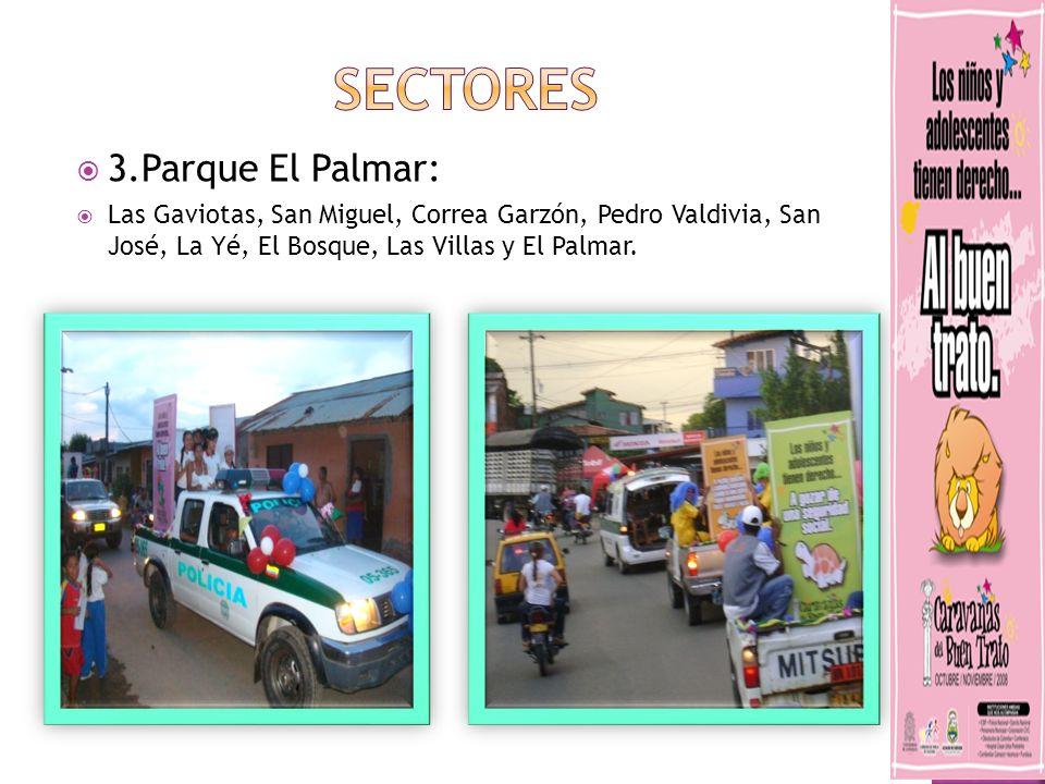 3.Parque El Palmar: Las Gaviotas, San Miguel, Correa Garzón, Pedro Valdivia, San José, La Yé, El Bosque, Las Villas y El Palmar.