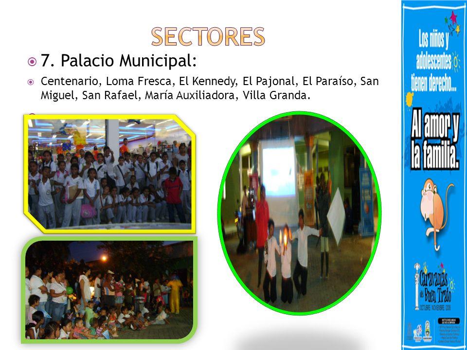 7. Palacio Municipal: Centenario, Loma Fresca, El Kennedy, El Pajonal, El Paraíso, San Miguel, San Rafael, María Auxiliadora, Villa Granda.