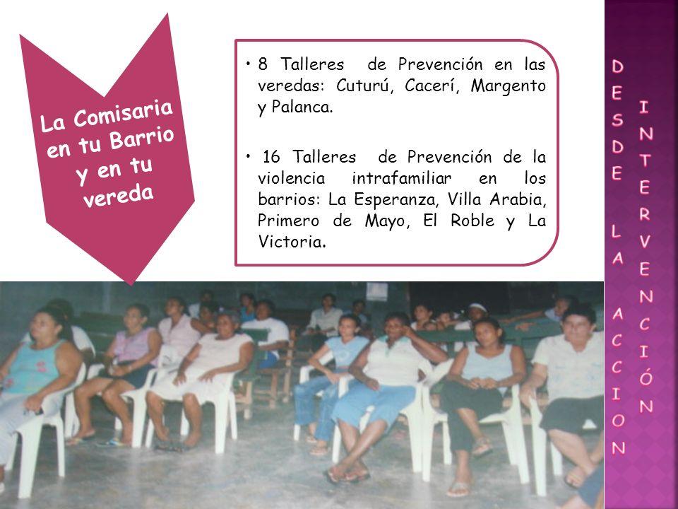 La Comisaria en tu Barrio y en tu vereda 8 Talleres de Prevención en las veredas: Cuturú, Cacerí, Margento y Palanca.