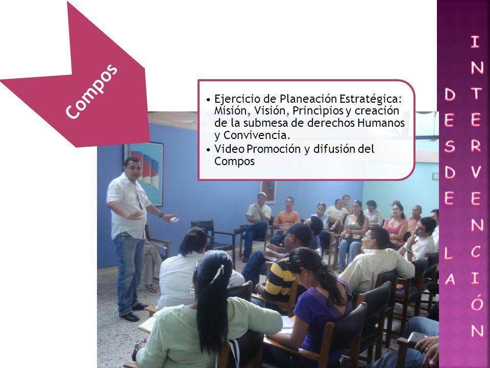 Compos Ejercicio de Planeación Estratégica: Misión, Visión, Princìpios y creación de la submesa de derechos Humanos y Convivencia. Video Promoción y d