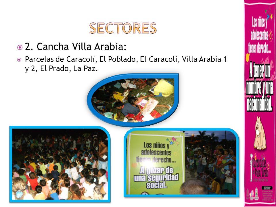 2. Cancha Villa Arabia: Parcelas de Caracolí, El Poblado, El Caracolí, Villa Arabia 1 y 2, El Prado, La Paz.