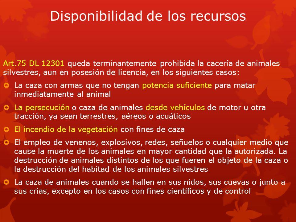 Disponibilidad de los recursos Art.75 DL 12301 queda terminantemente prohibida la cacería de animales silvestres, aun en posesión de licencia, en los