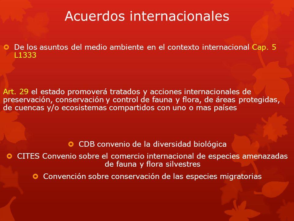 Acuerdos internacionales De los asuntos del medio ambiente en el contexto internacional Cap. 5 L1333 Art. 29 el estado promoverá tratados y acciones i