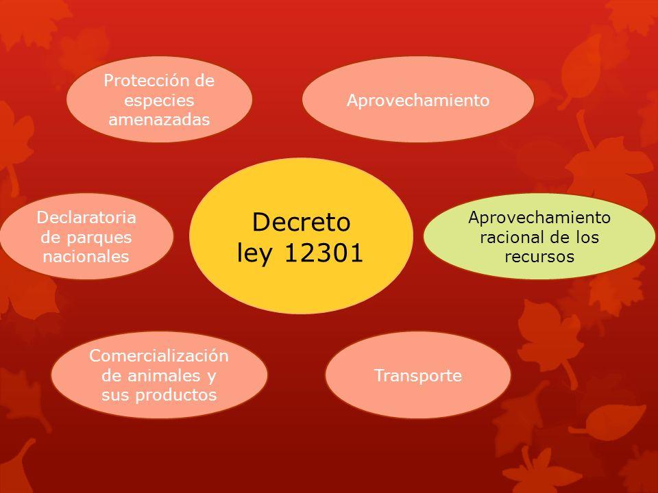 Decreto ley 12301 Comercialización de animales y sus productos Transporte Protección de especies amenazadas Aprovechamiento Declaratoria de parques na