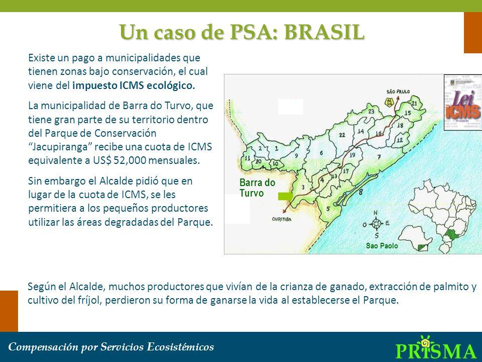 C ompensación por S ervicios E cosistémicos Sao Paolo Barra do Turvo Existe un pago a municipalidades que tienen zonas bajo conservación, el cual vien