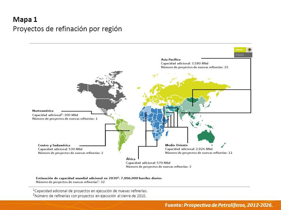 Fuente: Prospectiva de Petrolíferos, 2012-2026. Mapa 1 Proyectos de refinación por región Capacidad adicional de proyectos en ejecución de nuevas refi