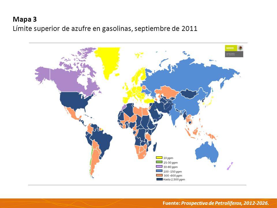 Fuente: Prospectiva de Petrolíferos, 2012-2026. Mapa 3 Límite superior de azufre en gasolinas, septiembre de 2011