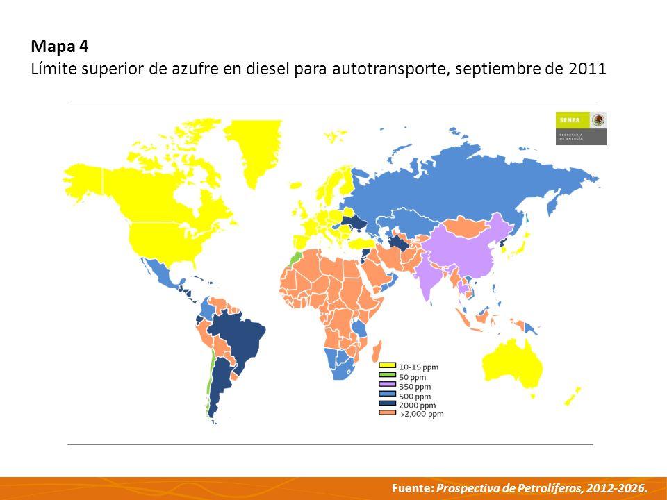 Fuente: Prospectiva de Petrolíferos, 2012-2026. Mapa 4 Límite superior de azufre en diesel para autotransporte, septiembre de 2011