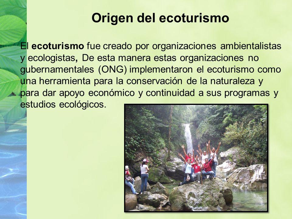 El ecoturismo fue creado por organizaciones ambientalistas y ecologistas, De esta manera estas organizaciones no gubernamentales (ONG) implementaron el ecoturismo como una herramienta para la conservación de la naturaleza y para dar apoyo económico y continuidad a sus programas y estudios ecológicos.