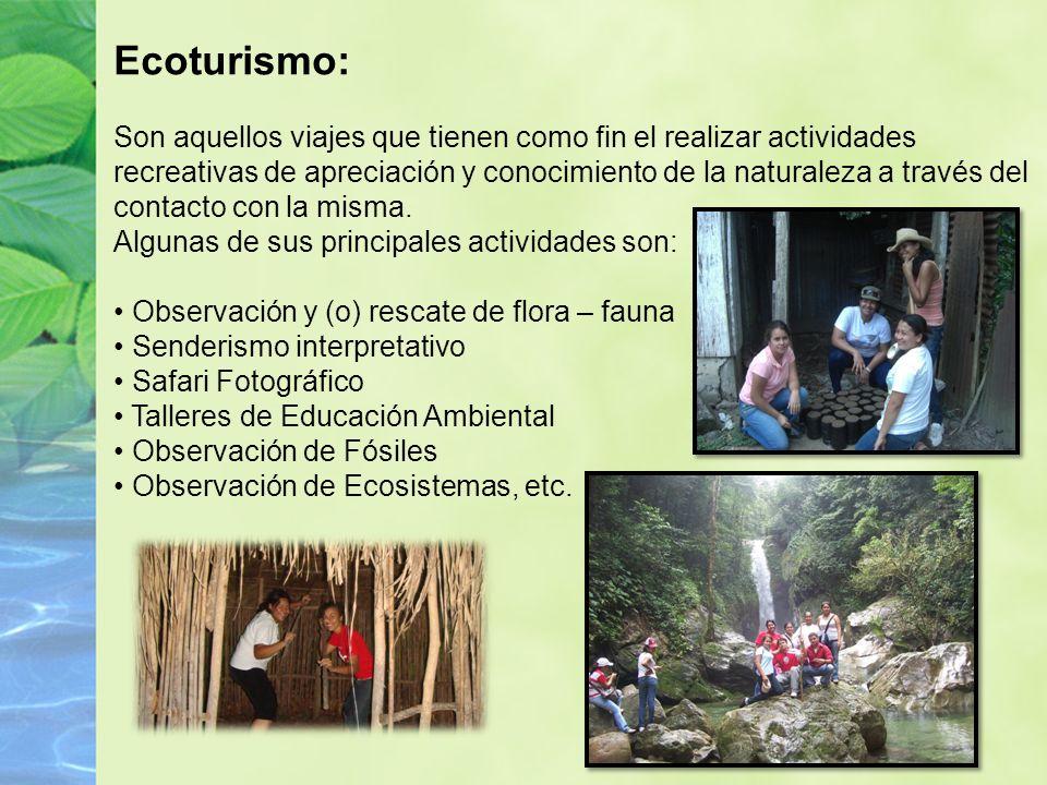 Ecoturismo: Son aquellos viajes que tienen como fin el realizar actividades recreativas de apreciación y conocimiento de la naturaleza a través del contacto con la misma.