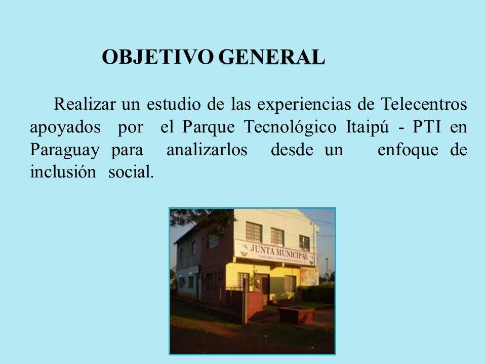 Realizar un estudio de las experiencias de Telecentros apoyados por el Parque Tecnológico Itaipú - PTI en Paraguay para analizarlos desde un enfoque d