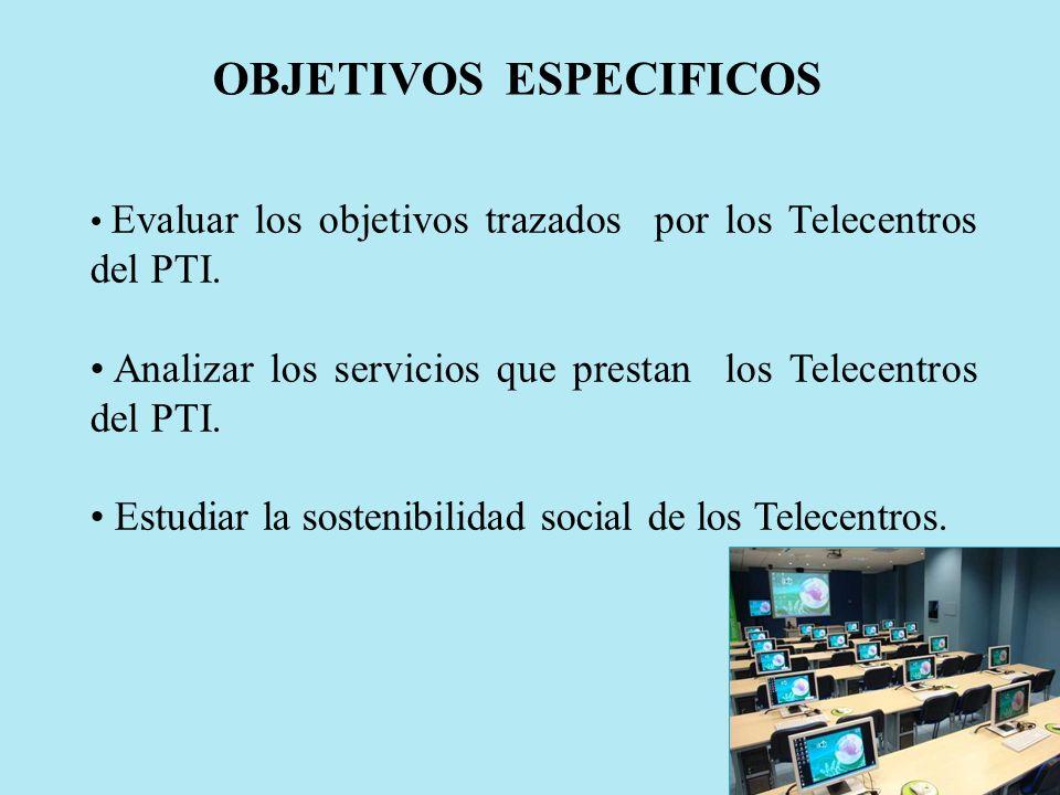 Evaluar los objetivos trazados por los Telecentros del PTI. Analizar los servicios que prestan los Telecentros del PTI. Estudiar la sostenibilidad soc