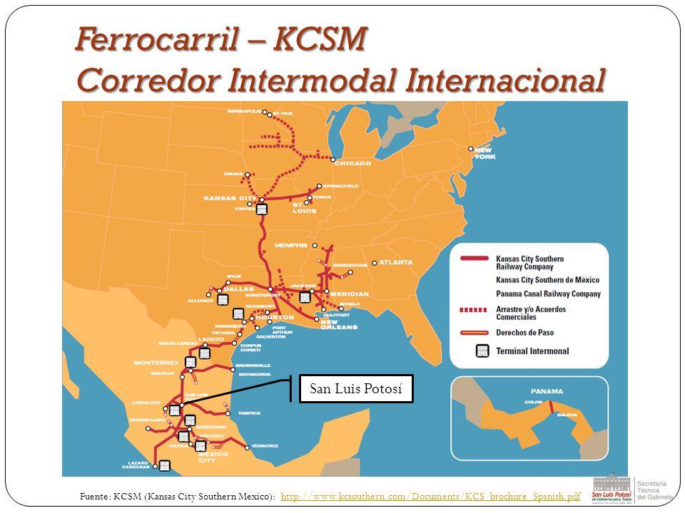 Ferrocarril – KCSM Corredor Intermodal Internacional Fuente: KCSM (Kansas City Southern Mexico): http://www.kcsouthern.com/Documents/KCS_brochure_Span