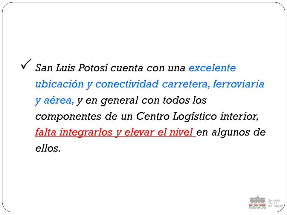 San Luis Potosí cuenta con una excelente ubicación y conectividad carretera, ferroviaria y aérea, y en general con todos los componentes de un Centro