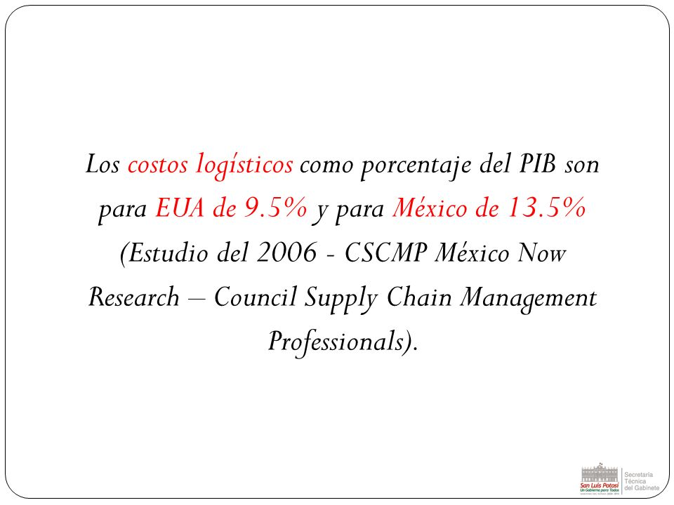 Los costos logísticos como porcentaje del PIB son para EUA de 9.5% y para México de 13.5% (Estudio del 2006 - CSCMP México Now Research – Council Supp