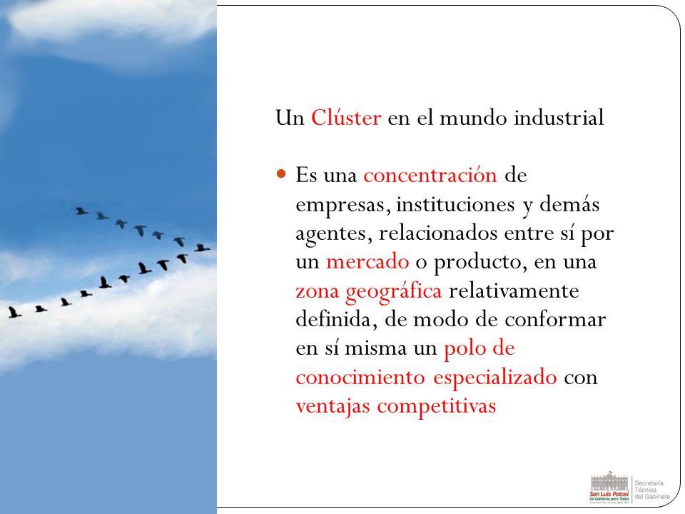 Un Clúster en el mundo industrial Es una concentración de empresas, instituciones y demás agentes, relacionados entre sí por un mercado o producto, en