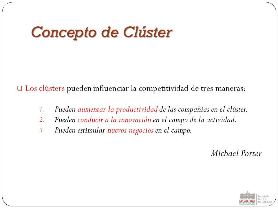 Los clústers pueden influenciar la competitividad de tres maneras: 1. Pueden aumentar la productividad de las compañías en el clúster. 2. Pueden condu