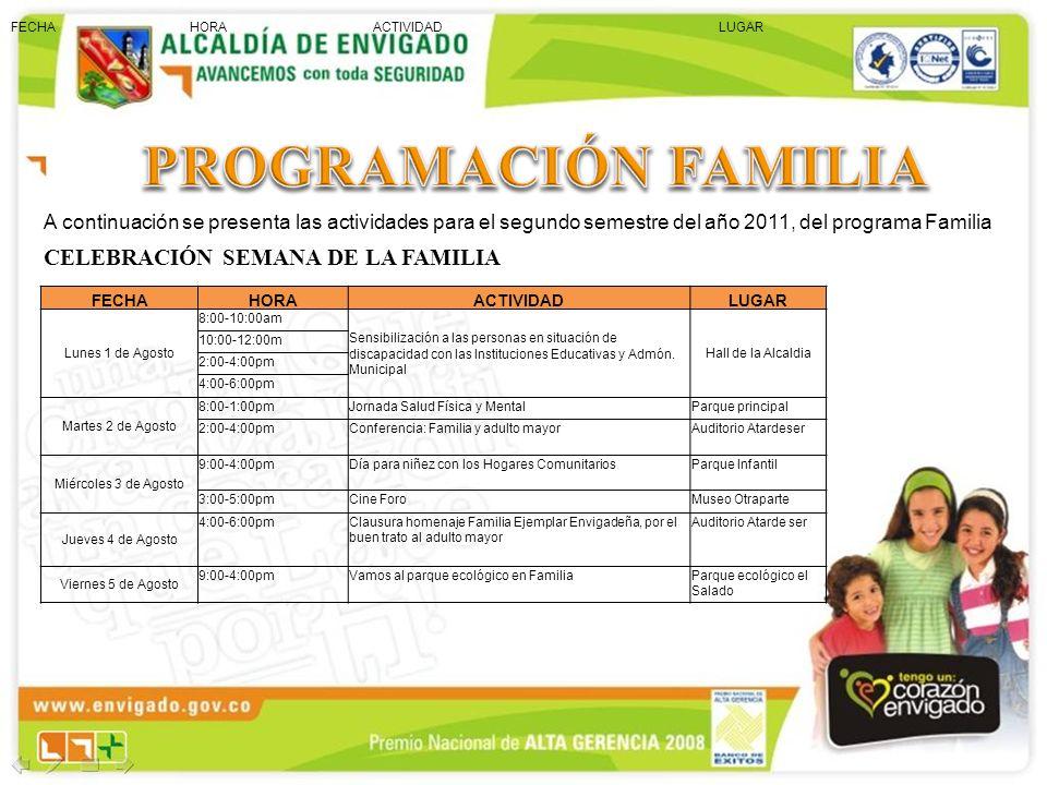 A continuación se presenta las actividades para el segundo semestre del año 2011, del programa Familia CELEBRACIÓN SEMANA DE LA FAMILIA FECHA HORA ACT