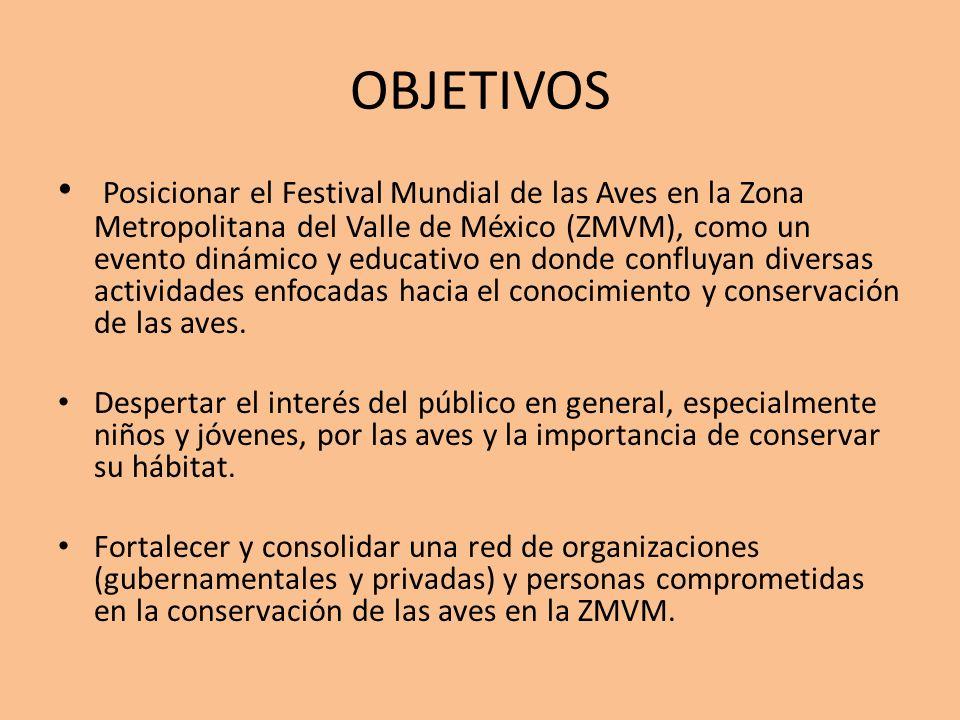 OBJETIVOS Posicionar el Festival Mundial de las Aves en la Zona Metropolitana del Valle de México (ZMVM), como un evento dinámico y educativo en donde