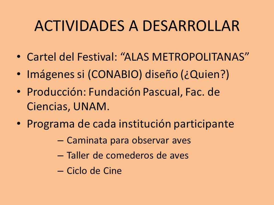 ACTIVIDADES A DESARROLLAR Cartel del Festival: ALAS METROPOLITANAS Imágenes si (CONABIO) diseño (¿Quien?) Producción: Fundación Pascual, Fac. de Cienc