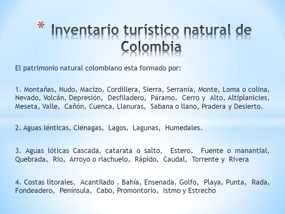 El patrimonio natural colombiano esta formado por: 1. Montañas, Nudo, Macizo, Cordillera, Sierra, Serranía, Monte, Loma o colina, Nevado, Volcán, Depr