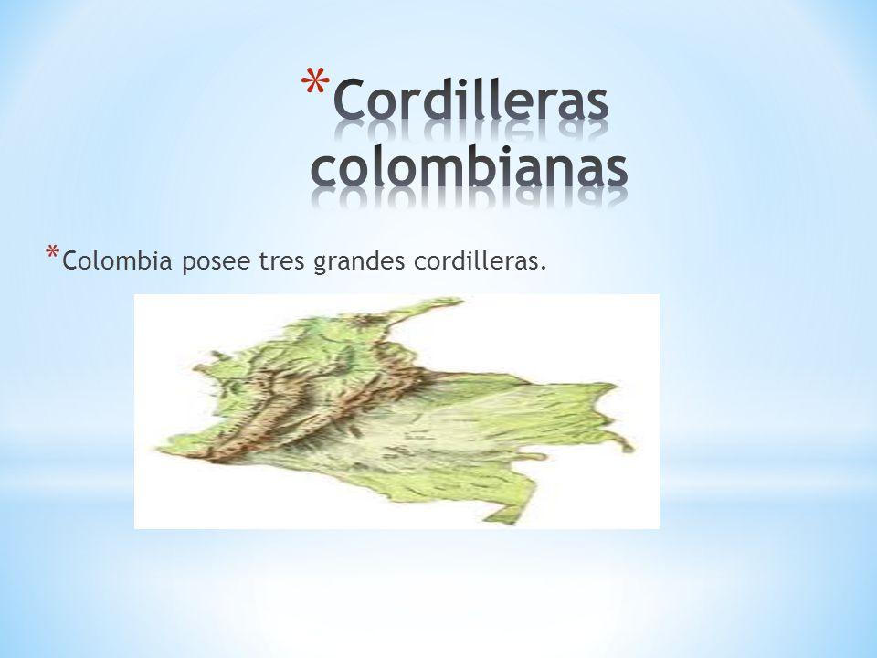 * Colombia posee tres grandes cordilleras.